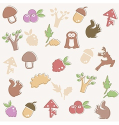 Woodland pattern vector image vector image