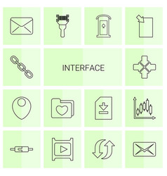 14 interface icons vector