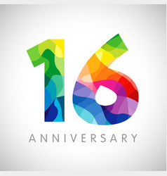 16 anniversary colorful facet logo vector