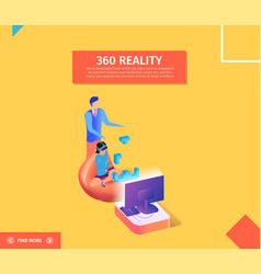 360 reality banner woman in vr glasses playing vector