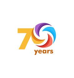 70 year anniversary rainbow template design vector