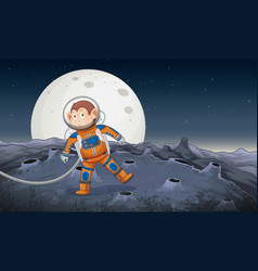 A monkey astronaut in space vector