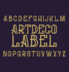 Artdeco label typeface retro font isolated vector