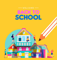 back to school card kids making book house vector image