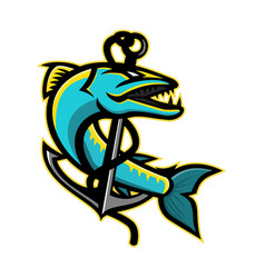 barracuda and anchor mascot vector image