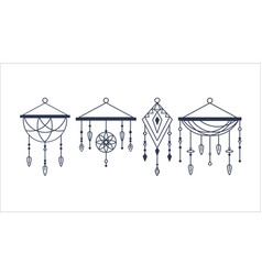 Beautiful decorative dream catchers set isolated vector