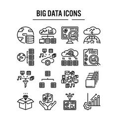 big data icon in outline design for web design vector image