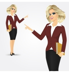 blonde businesswoman pointing vector image