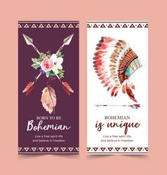 Bohemian flyer design with flower arrow feather vector