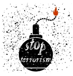 Bomb Icon Stop Terrorism Banner vector