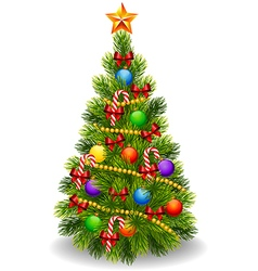 Cartoon of decorated Christmas tree isolated vector
