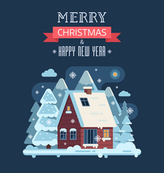 Christmas card with mountain winter house by night vector