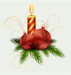 christmas composition by burning candle red vector image
