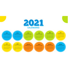 color calendar on 2021 year with circle shape vector image