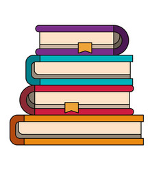 colorful image of stack collection of books with vector image