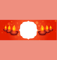 Creative happy diwali festival banner with text vector