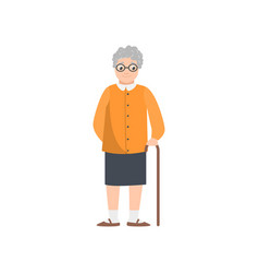 cute smiling grandmother with eyeglasses stay in vector image