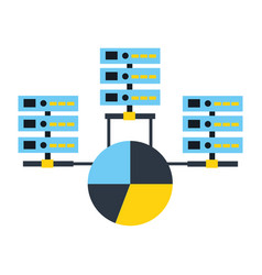 database server center connection pie chart report vector image