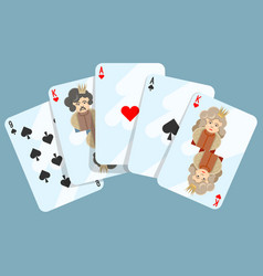 Deck of cards composition on blue vector