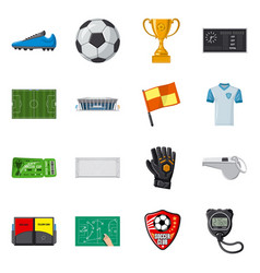 design of soccer and gear icon collection vector image