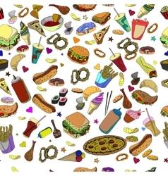 Fast food seamless design line art vector