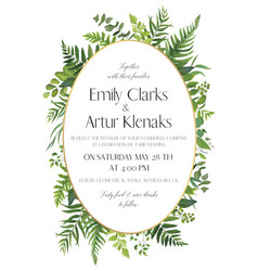 Forest greenery wedding floral invitation card vector