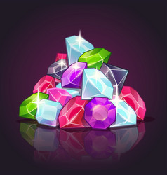 Gems pile cartoon vector