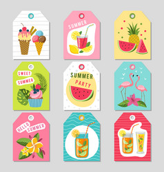 Gift tags with summer tropical decoration vector