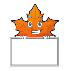grinning with board red maple leaf character vector image