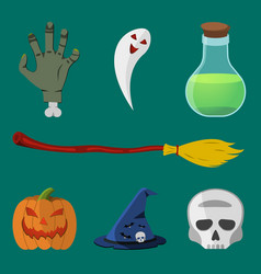 halloween icon set pumpkin skull hat ghost vector image