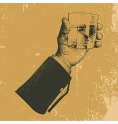 Hand holding a glass tipple vector