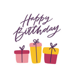 Happy birthday greeting card template with festive vector