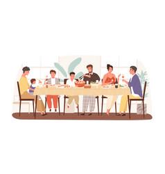 happy italian family enjoying festive dinner vector image