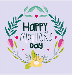 happy mothers day floral wreath decoration vector image