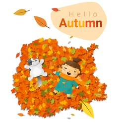 Hello autumn background with little girl 4 vector image