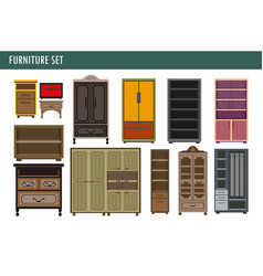 Home furniture cabinet bookcase lockers wardrobe vector