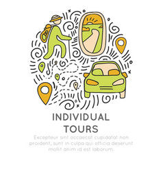 invividual tours hand draw cartoon icon vector image