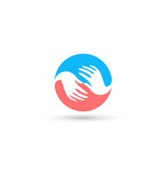 Isolated blue and pink round logo global vector