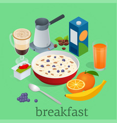 Isometric breakfast and kitchen equipment icons vector