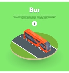 Isometric Bus on Part of Road Web Banner vector