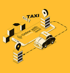 isometric online taxi app for smartphone vector image