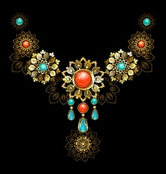 Jewelry with Turquoise and Jasper vector