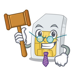 Judge simcard in a mascot wallet vector