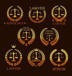 Lawyer golden emblem set with scale of justice vector