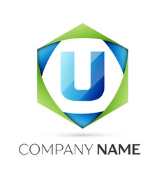 Letter u symbol in the colorful hexagonal vector