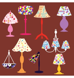 Lighting lamps set vector image