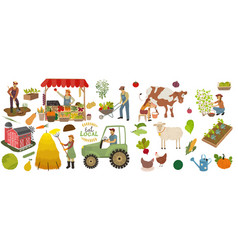 Local organic production icons set vector