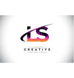 ls l s grunge letter logo with purple vibrant vector image