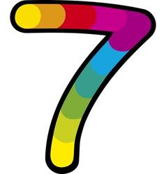 lucky seven with rainbow cartoon vector image