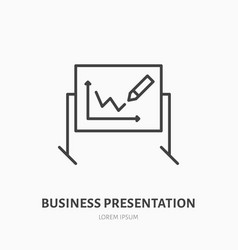 marker board with chart flat line icon business vector image
